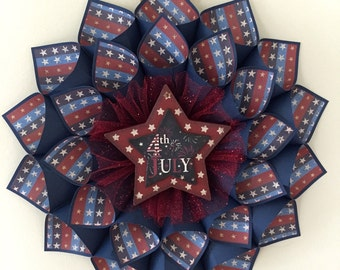 July 4th/ Red, White and Blue Star Wreath