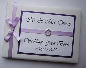 Personalised Lilac Wedding Guest Book (any colour)