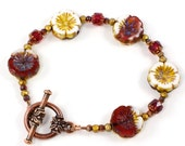 Handmade Pansy Flower Czech Glass Bracelet, Cathedral Glass and Faceted Seed Beads in Raspberry Gold and Cream