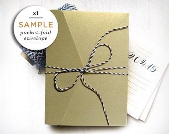1 Gold Pocketfold Envelope / A6, Pearlescent Card / Sample for Wedding Invitations, DIY Card Sets