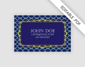 Calling card, one sided, editable pdf file, custom business card, printable, European size and American size, instant download, stationary