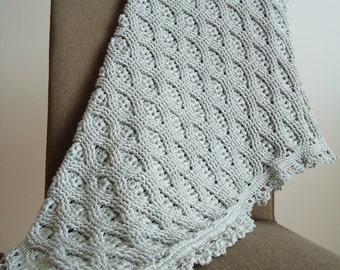 """Crochet baby blanket wheat stitch, baby blanket, travel blanket, grey - 72x79 cm (28""""x31"""")"""