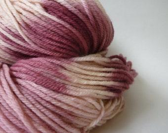Hand Dyed Yarn, Hand Painted Yarn, Worsted Weight Yarn, Superwash Merino Wool, Pink White