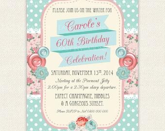 Shabby Chic Adult Birthday Invitation Vintage Retro Printable Digital 40th 50th 60th 70th 80th