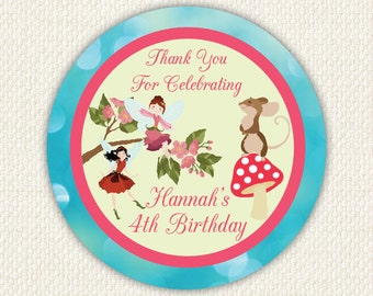 Fairy Enchanted Woodland Birthday Stickers 12X 60mm Glossy Printed
