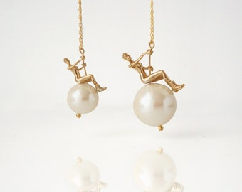 It's a Small World After All - Mini Wrecking Ball Pearl Necklace - Brass Edition  by TO+WN DESIGN