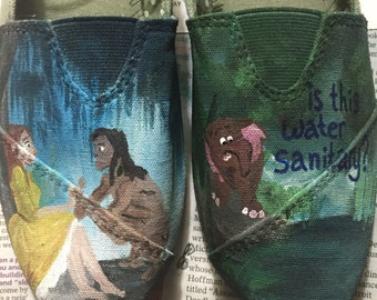 Tarzan and Jane painted TOMS and off brand shoes