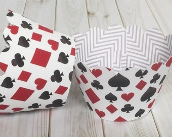 Cupcake Wrappers for Casino Poker Night with Red Heart, Black Club, Red Diamond, Black Spade, for Birthday Parties, Mystery Diners