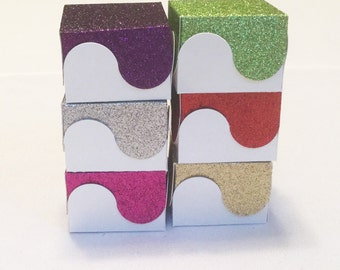 12 Glitter Scallop Favor Boxes for Weddings, Birthday Parties, Bridal Showers, Baby Showers, Candy Box, Gift Box, Jewelry Box
