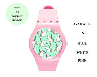 Unicorn plastic watch,watch,plastic,wrist watch,grunge,cute,gift,birthday gift,hipster,accessories,colorful,kawaii,cool,pastel grunge,pastel