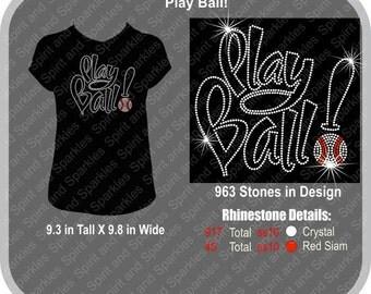 Play Ball Rhinestone T-Shirt, Tank or Hoodie