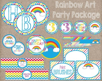 Rainbow Art Party Package! Digital Party Package Perfect for Rainbow Party or Art Party! Personalized Party.