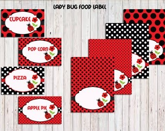 Ladybug  Food Tent Labels BLANK , Ladybug Party Printable,Ladybug Birthday favors DIY, Instant Download