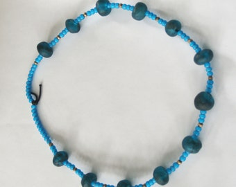 African Trade Beads, Vintage Turquoise African Trade Bead Necklace