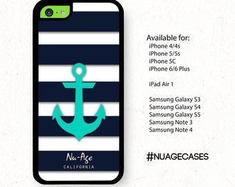 IPhone 5C Cases Iphone 4S Striped Anchor Case Girly Sailor Stripes Teal Anchor Case Striped IPhone 4 Cases IPhone 5C Case with Anchor
