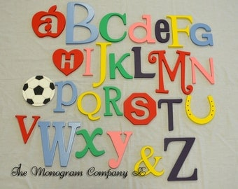 PAINTED Wooden Alphabet Set, Wooden Wall Hanging Letters, Nursery Wall Decor, Nursery Wall Art Wooden Letters, ABC Alphabet Wall