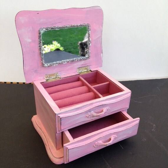 girls jewelry box distressed sweet candy pink drawer