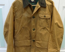 MEN'S HUNTING JACKET, Sears  & Roebuck,  waterproof canvas, Tan jacket/coat, vintage 1970s ,size large to extra large