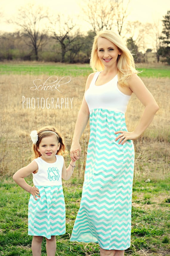 Mommy Me Dress Chevron Matching Outfits Aqua Mother Daughter Womens Dresses Girls