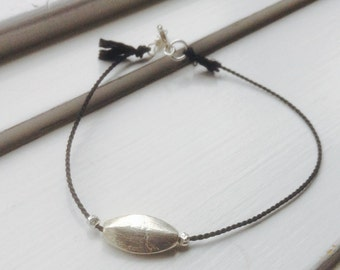 Sterling Silver Beads Silk Cord Bracelet- silk cord bracelet, delicate bracelet, silk bracelet, minimalist bracelet, sterling silver, skinny