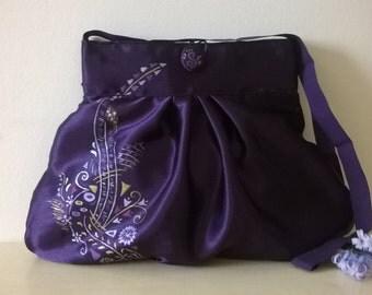 Shoulder bag purple hand-decorated