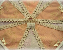 Dusty Pink /Cream Lace Bunting in a Vintage Theme/ baby girls bunting/christening/baby showers/new baby gift/baby girl gift
