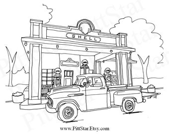 truck coloring pages for adults | Pickup line | Etsy