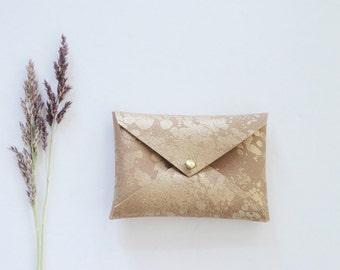 Vegan Gold splash wallet, gold business card wallet, vegan leather business card holder, business card case