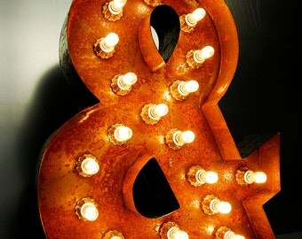 "50cm 20"" Tall Cool Rusted Letter Lights Made In Great Britain Any Letter or Number MAX Bulb Version"