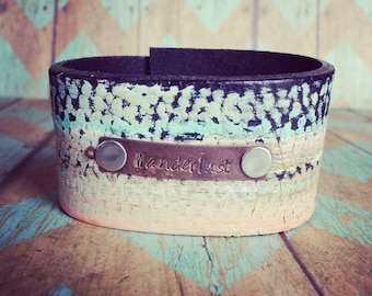 The Wanderlust handpainted Handstamped Leather cuff