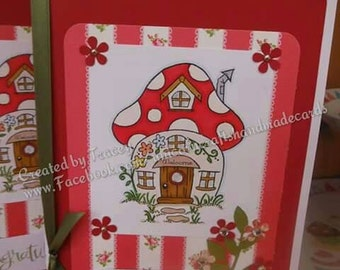 New Home/House Toadstool Theme Handmade greeting card.
