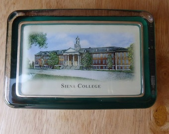 CLEARANCE/SALES  Siena College Paperweight Vintage Siena NY 4 1/2 inches length 3 inches wide College Paperweights