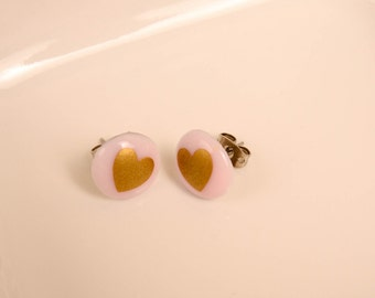 Light Pink with Gold Heart Stud Earrings