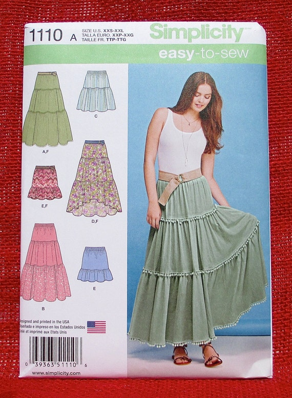 Simplicity Sewing Pattern 1110, Tiered Skirt, Mini, Long