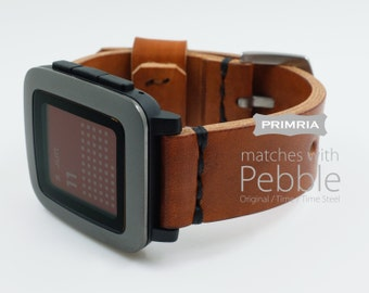 Pebble Time / Pebble Time Steel / Handmade Leather Straps / Bands  - Coffee Brown