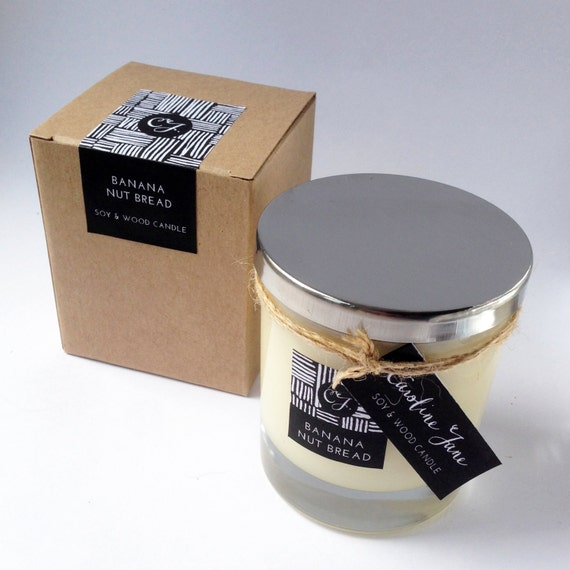 BANANA NUT BREAD - Vegan Soy Wax Candle with crackling wooden wick ...