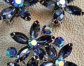 Aurora Borealis Flowers Jewelry Set..Silver tone..Vintage 1950s