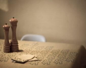 Linen tablecloth - handprinted 100% linen tablecloth