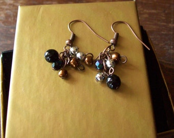Black and Bronze Dancing Czech Bead Earring by Laurel Anne Equine Art