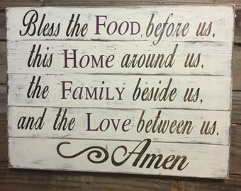 Dining Room Sign Kitchen Sign Christian Home Decor Christian Sign Blessing Sign
