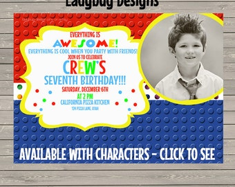 Building Block Invitation - Characters Available!