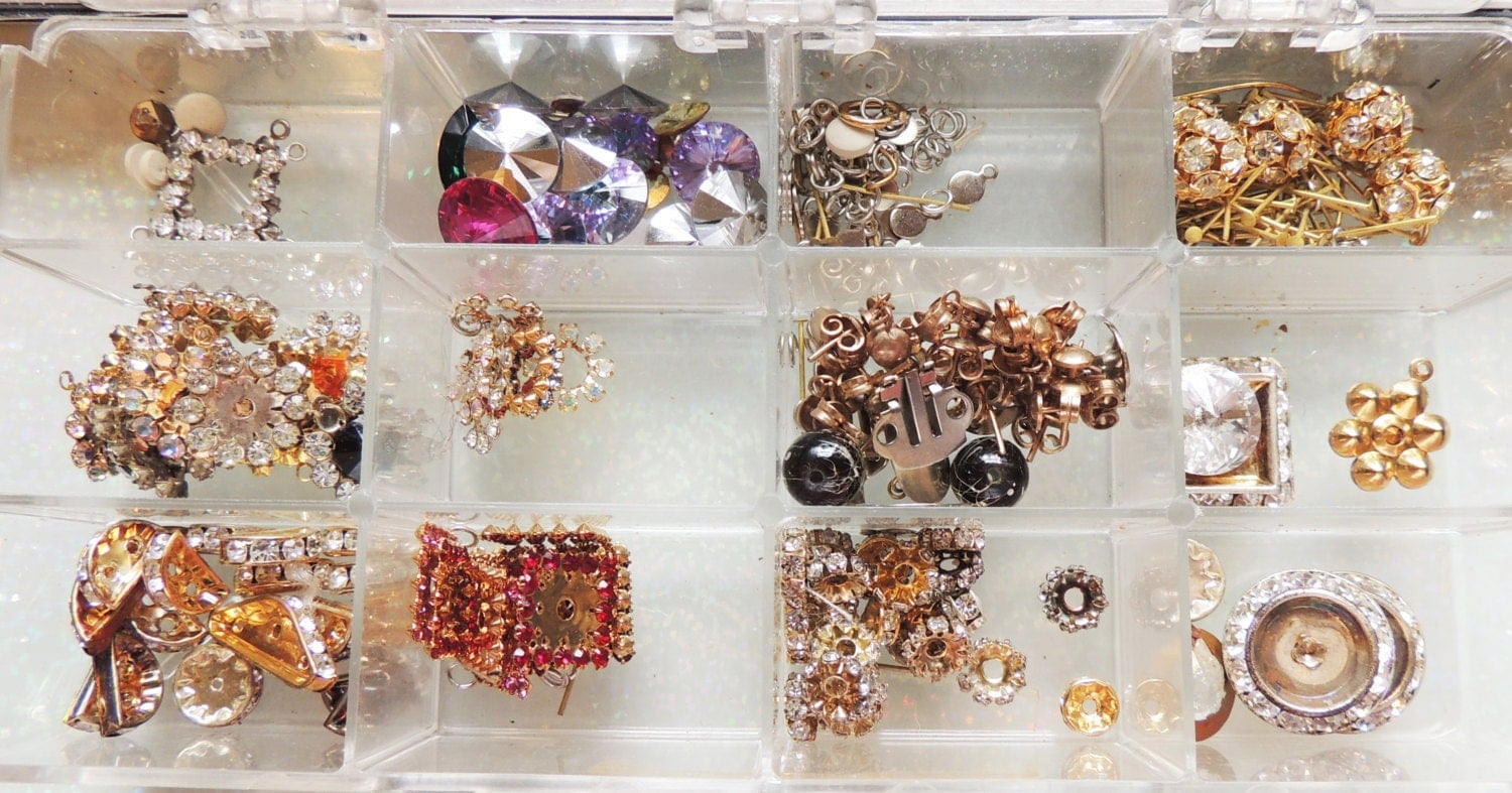 Case full of jewelry making supplies and findings by dsstash for Earring supplies for jewelry making