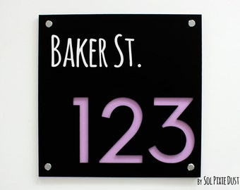 Modern House Numbers Concrete with Yellow Acrylic