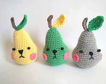 Pirum parum handmade crochet amigurumi pear - READY TO SHIP -