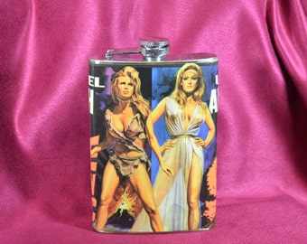 Prehistoric Raquel Welch & Ursula Andress -  8 oz stainless steel flask (RN 2014)