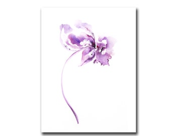 Wall Decor Art Print from Minimalist Watercolor Painting, Purple Abstract FLower