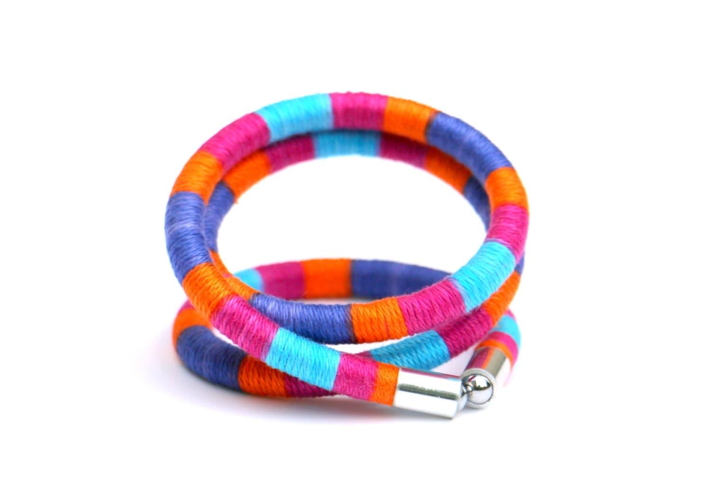 wrap bracelet colorful rope bracelet textile wrap bracelet
