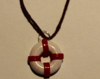 Polymer Clay Lifebelt, Life Buoy, Pendant, Necklace, Jewel, Handmade