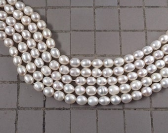"Full 15"" Strand White Freshwater Oval Rice Pearls – 8 x 7mm"