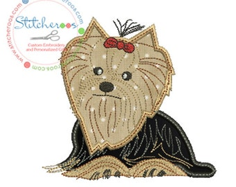 Cute Yorkie Applique Design -In Hoop sizes4 x 4, 5 x 7, 7x7, 9x9 - Instant Download - for Embroidery Machines